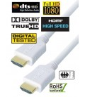 High Speed HDMI White Cable, Gold Plated Connector, 3m