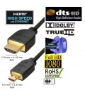 High Speed HDMI-Kabel mit Ethernet Serie Gold Typ-A auf Typ-D (Micro), Länge 2m